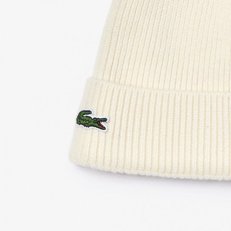 Bonnet à revers blanc en laine côtelée unie