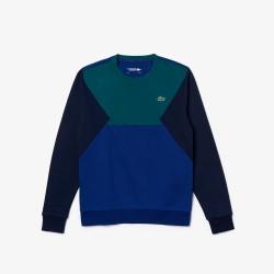 Sweatshirt Tennis Lacoste SPORT vert/bleu en molleton de coton