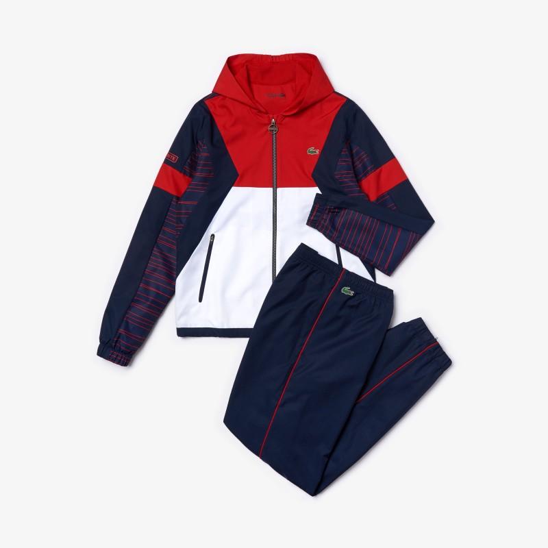 Ensemble de survêtement à capuche Tennis Lacoste SPORT rouge/blanc/bleu
