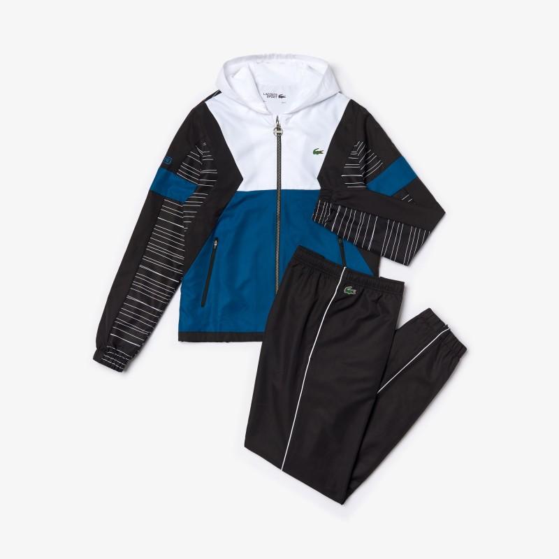 Ensemble de survêtement à capuche Tennis Lacoste SPORT blanc/bleu/noir
