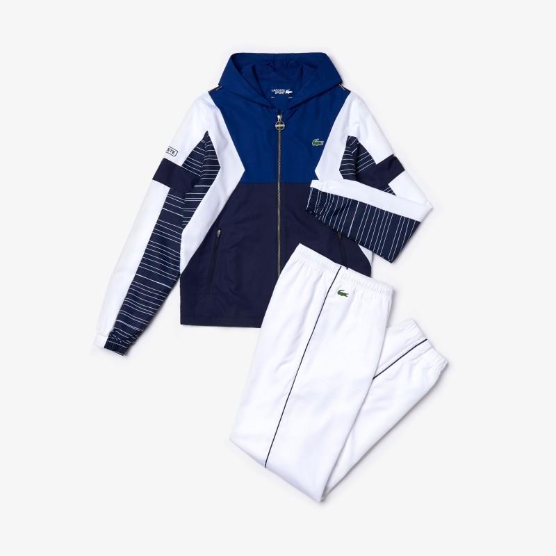 Ensemble de survêtement à capuche Tennis Lacoste SPORT blanc/bleu