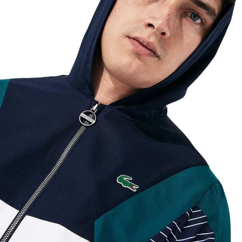 Ensemble de survêtement à capuche Tennis Lacoste SPORT bleu/vert