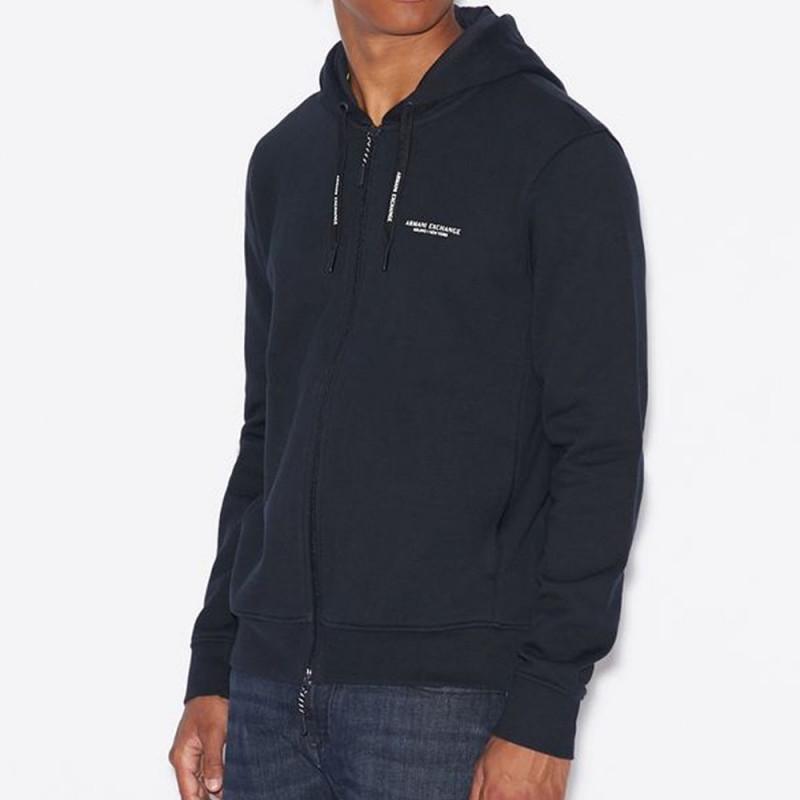 Sweat-shirt zippé bleu marine Armani Exchange