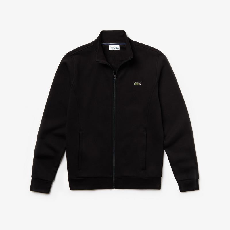 Sweatshirt Lacoste SPORT noir zippé en molleton