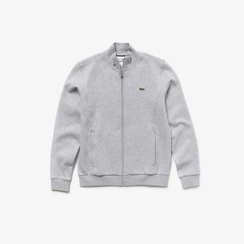 Sweatshirt Lacoste SPORT gris chiné zippé en molleton