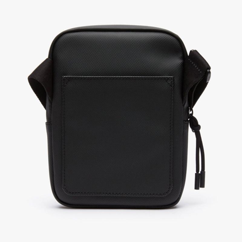 Petite sacoche Lacoste noir zippée L.12.12 Concept en toile enduite piquée