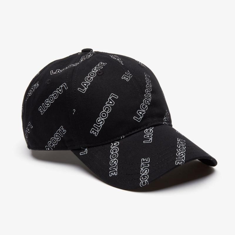 Casquette unisexe Lacoste LIVE noire en coton imprimé signature