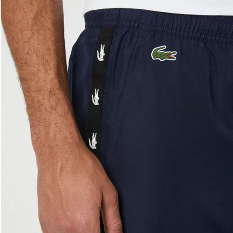 Pantalon de survêtement Lacoste SPORT bleu marine avec bandes croco