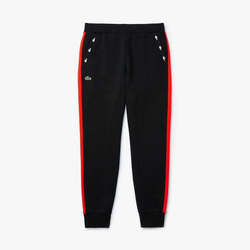 Pantalon de survêtement Tennis Lacoste SPORT noir/rouge en molleton